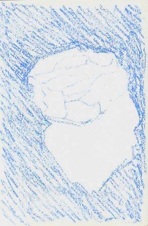 Sketch of white rock in blue oil pastel