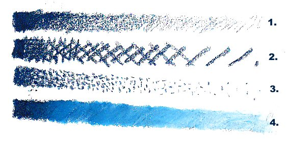 Four different shading bars in Indigo oil pastel showing pressure shading, crosshatching, stippling and blending with white.
