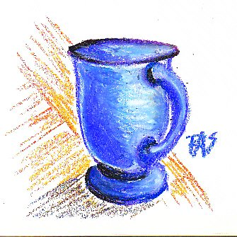 Oil pastel drawing of blue cup with dark shadow on oak tabletop.