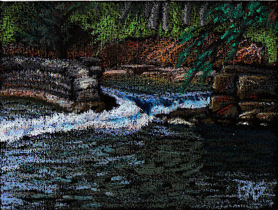 Broken Dam, oil pastel painting by Robert A. Sloan from a reference by Wildart from WetCanvas.com