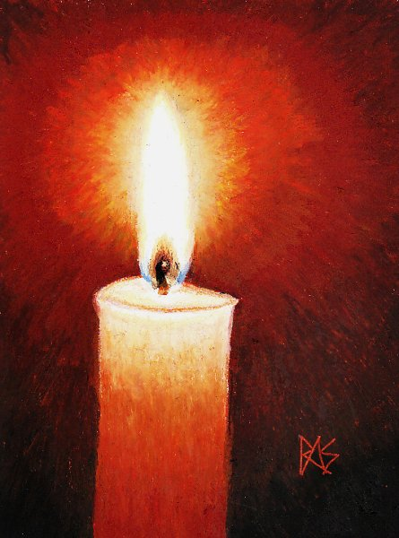 Oil pastel painting of a candle with flame and detailed wick against a dark background.