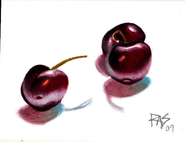 Cherries by Robert A. Sloan, oil pastel on paper