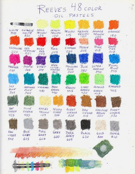 Color chart of 48 Reeves oil pastels