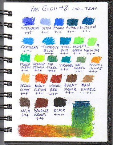 Color chart for 24 cool and neutral range Van Gogh oil pastels