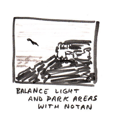 Look at your drawing as light and dark masses, balance them so there's more light or more dark, not fifty-fifty.