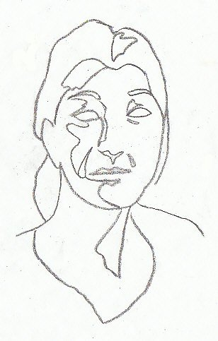Contour drawing of a woman's face showing irregular shapes of shadows defining features.