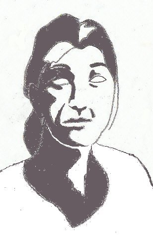 Contour drawing of a woman's head shaded in the shadow areas, corrected for consistent light.
