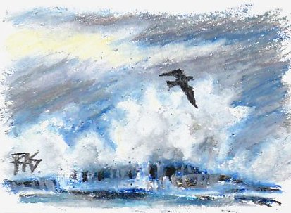 White surf waves crashing on dark rocks under gray storm clouds, black gull silhouette painted in CrayPas Expressionist oil pastels.