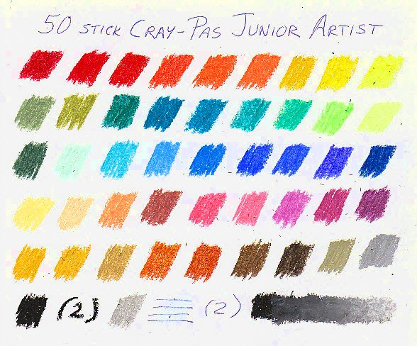 Color chart for 50 sticks of CrayPas Junior Artist oil pastels.