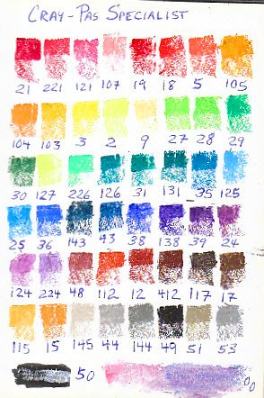 Color chart  for 50 stick CrayPas Specialist artist grade oil pastels.