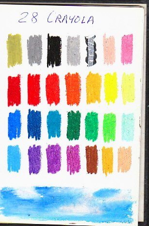 Color chart of full range 28 color set of Crayola Oil Pastels