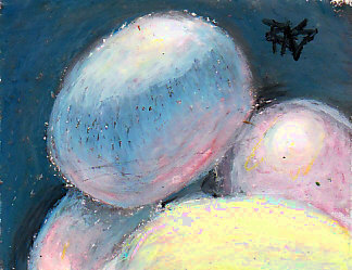 Drawing Eggs by Robert A. Sloan, oil pastel on paper.