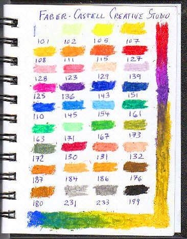 Color chart of 36 Faber Castell oil pastels with color number under swatches.
