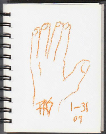 One minute gesture drawing of the artist's left hand with giant thumb and sausage fingers.