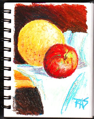 Yellow grapefruit and red apple with green streaks on pale green cloth over a golden oak shelf with a dark background, by Robert  A. Sloan