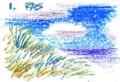 Grass Texture example 1, a grassy hill with sky, clouds and water