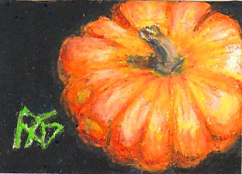 Pumpkin ACEO painted in Mont Marte oil pastels by Robert  A. Sloan