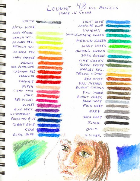 Louvre oil pastels 48 color chart with sketches and blending experiments.