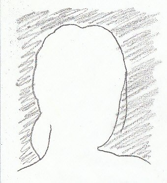 Silhouette of a woman's head in pencil demonstrating negative space, the area around her outline is shaded in.