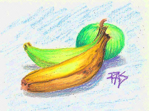 Overripe and underripe bananas in front of a green apple on a scribbled light blue background, drawn with Crayola oil pastels.