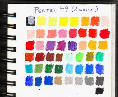 Pentel oil pastels color chart showing the full range of 49 colors, the 50 stick set has two whites.