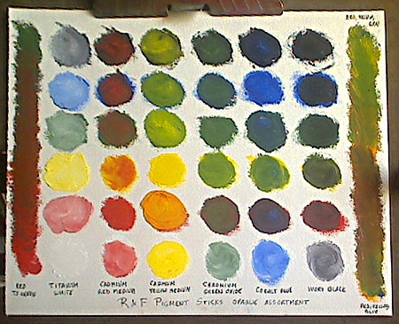Color Mixing Chart for 6 Opaque R&F Pigment Sticks set