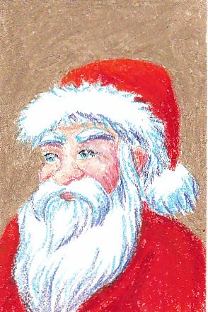 Santa Claus drawing in Mungyo Gallery oil pastels by Robert A. Sloan, illustration for eHow article on how to draw Santa Claus and product review of Mungyo Gallery oil pastels.