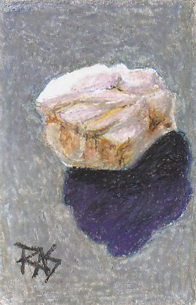 Oil pastel study of a white quartz pebble and its shadow on a blue-gray background.