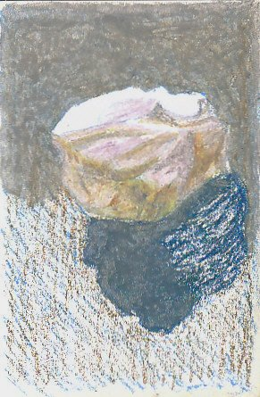 White stone sketch with upper areas and shadow blended with gray over colors.