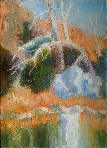 Oyster Creek landscape painting in R&F Pigment Sticks on canvas board by Robert A. Sloan