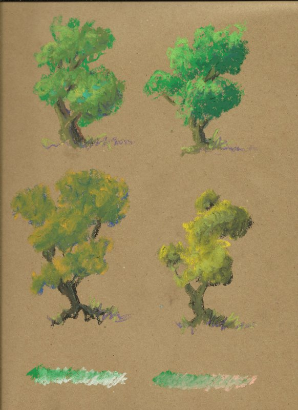 Four tree sketches showing different ways to handle mixing greens.