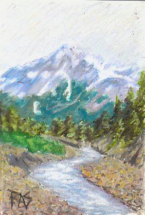 Oil pastel painting of a mountain near Seward, Alaska with winding river, pines and distant blued forest.