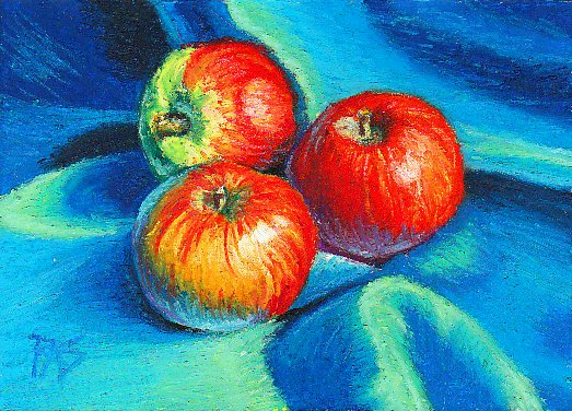 Oil pastel still life of three red and green apples on rumpled blue silk by Robert  A. Sloan.