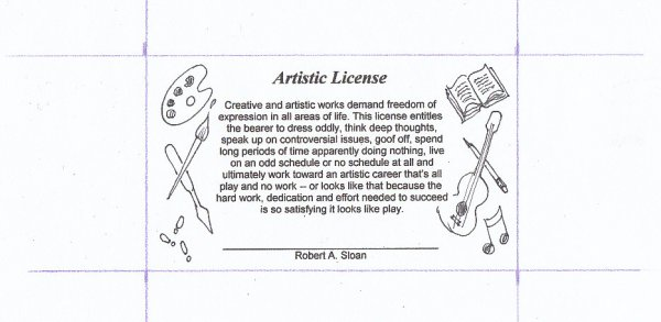 Artistic License wallet card with text and doodled images of art, music, dancing, writing.