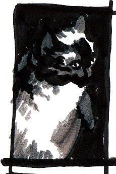 Cat Notan Four, second vertical composition, a little wider.