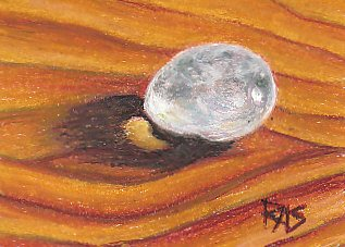 Clear quartz pebble on golden wood surface painted in Pentel oil pastels, realism.