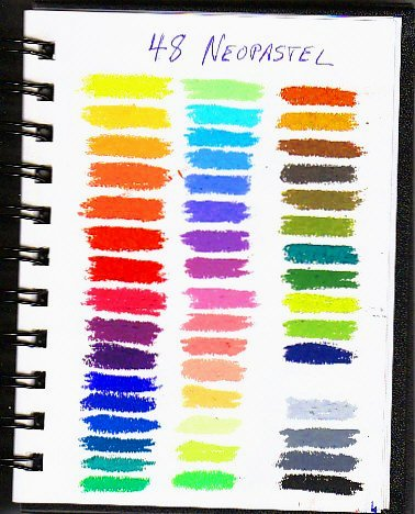 Color chart of 48 Neocolor artist grade oil pastels in three rows without labels.