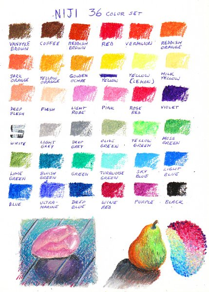 36 Niji color chart with sketches at base in context.