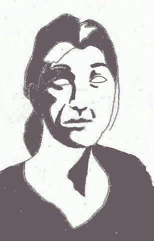 Contour drawing of a woman's head toned to light and dark values with a mistake to be corrected.