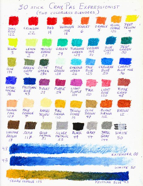 Color chart of 50 CrayPas Expressionist oil pastels.