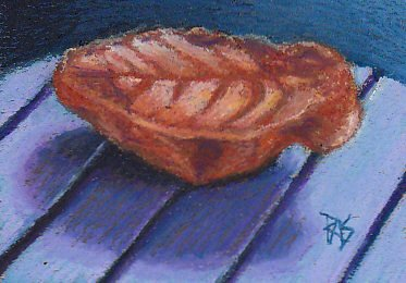 Study of a red brown Cretaceous fossil leaf on a blue-gray grooved reflective surface painted in Holbein Oil Pastels.