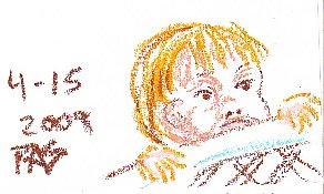 Sketch of the artist's grandson peering over a baby gate in oil pastels by Robert Sloan.