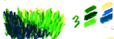 Grass texture demonstration stage three using blue, violet and yellow in the grass.