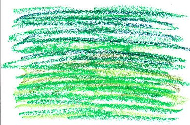 Grass texture goof -- long horizontal strokes, color varied but that didn't make it look like grass.