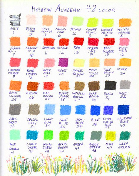 Color chart for 48 Holbein Academic student grade oil pastels.