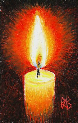 Maimeri Classico oil pastels painting of a candle with flame, wick and glow on a black background.