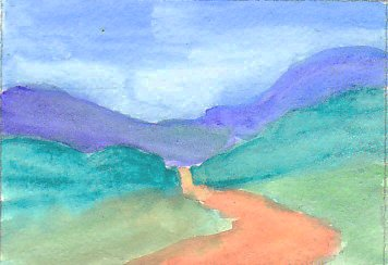 Simple watercolor landscape with blue sky, purplish hills, green hills and reddish brown road in watercolor.