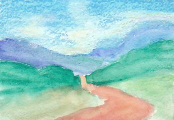 Landscape with first layer of oil pastel over watercolor underpainting.