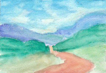 Landscape with sky area washed and clouds washed separately.