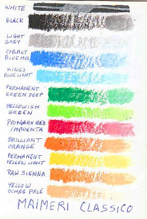 Color chart of 12 Maimeri Classico colors on white paper.